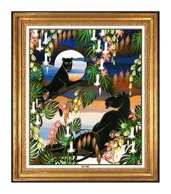 Gustavo Novoa Original Oil Painting on Board Animal Jungle Signed Framed Artwork