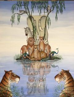 Lions, Tigers, Elephant Jungle Island Painting Surrealist Art, Gustavo Novoa