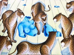 "Original Painting ""Blue Venus"" Nude Sculpture, Leopards, Big Cats Gustavo Novoa"