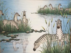 """Original Painting """"By The Pond"""" Tropical Jungle Painting Zebras, Gustavo Novoa"""