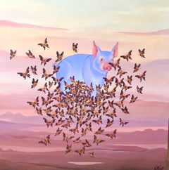 Original Painting Chinese Zodiac, Pig, Butterflies Surrealist Art, Gustavo Novoa