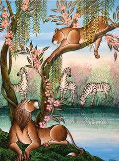 "Original Painting ""Deal"" Tropical Jungle Painting Lion, Zebras, Gustavo Novoa"