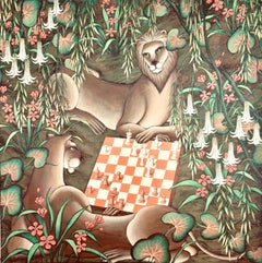 Original Painting Lions Playing Chess in Jungle Surrealist Art, Gustavo Novoa