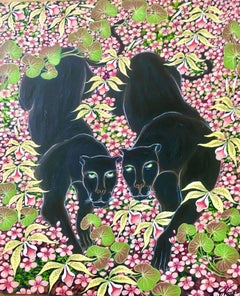 "Original Painting ""Spring Walk"" Tropical Jungle Painting Panthers"