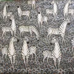Zebras and Daisies, Flower Field Jungle Painting Surrealist Art, Gustavo Novoa