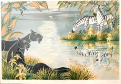 Tropical Jungle Lithograph Gustavo Novoa Black Panthers, Zebras