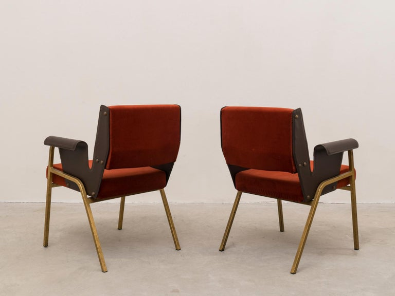 Mid-Century Modern Gustavo Pulitzer Pair of Velvet and Leather Albenga Armchairs for Arflex, 1955 For Sale