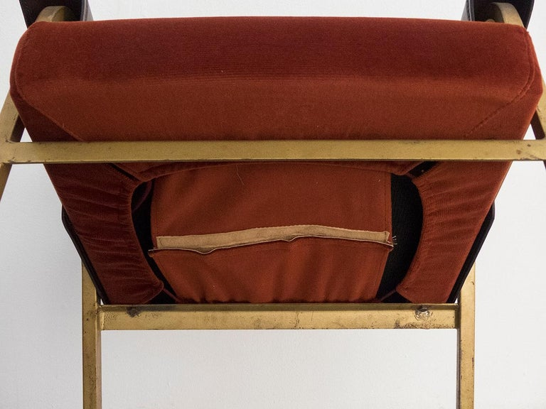 Gustavo Pulitzer Pair of Velvet and Leather Albenga Armchairs for Arflex, 1955 For Sale 3