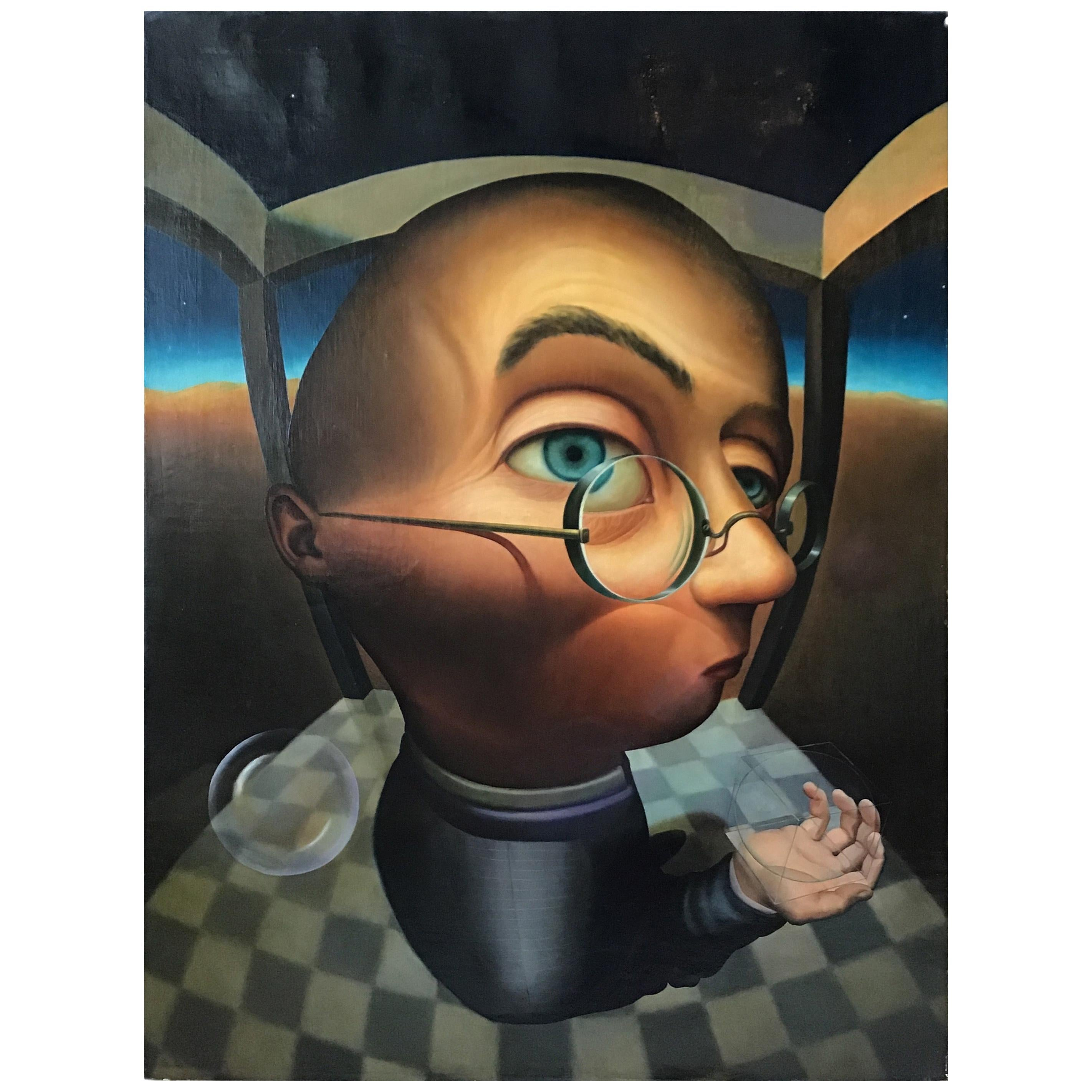 Gustavo Schmidt Oil on Canvas of Man Dated 1995