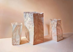 Tres Bolsas de Papel en Diagonal, Oil Painting by Gustavo Schmidt