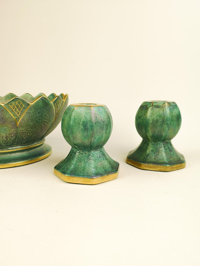 Swedish Gustavsberg Art Deco Bowl and Candlesticks Josef Ekberg For Sale