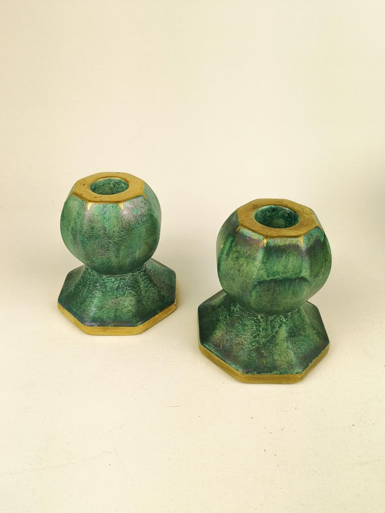 Gustavsberg Art Deco Bowl and Candlesticks Josef Ekberg For Sale 3
