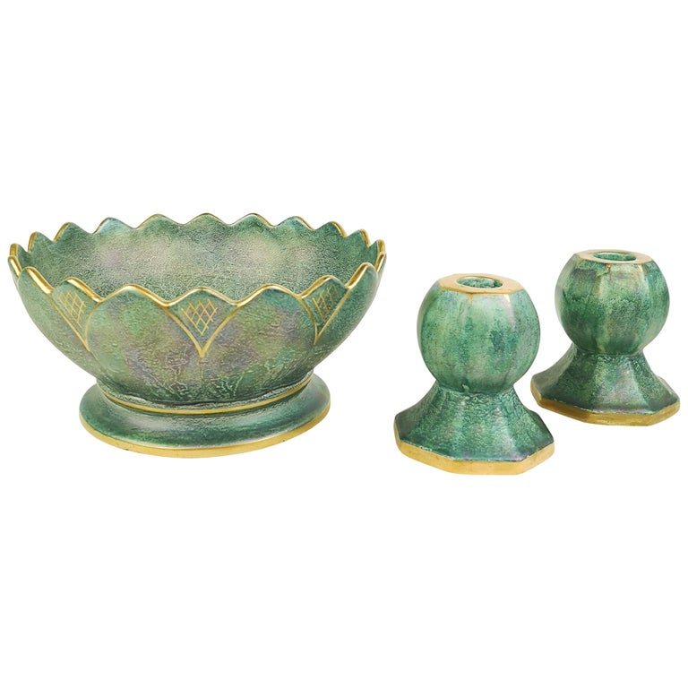 Gustavsberg Art Deco Bowl and Candlesticks Josef Ekberg For Sale