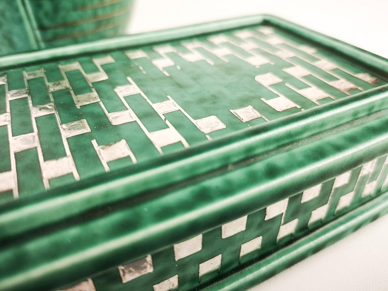 Ceramic Gustavsberg Art Deco Vase and Vanity Box Wilhelm Kåge For Sale
