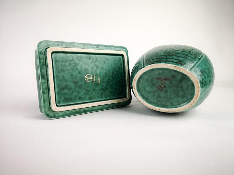 Gustavsberg Art Deco Vase and Vanity Box Wilhelm Kåge For Sale 1