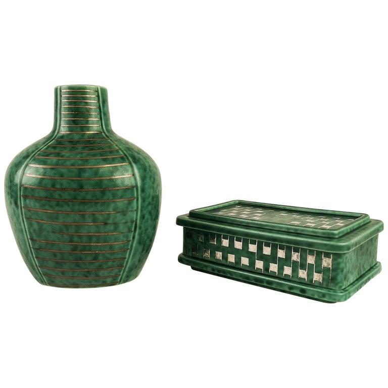Gustavsberg Art Deco Vase and Vanity Box Wilhelm Kåge For Sale