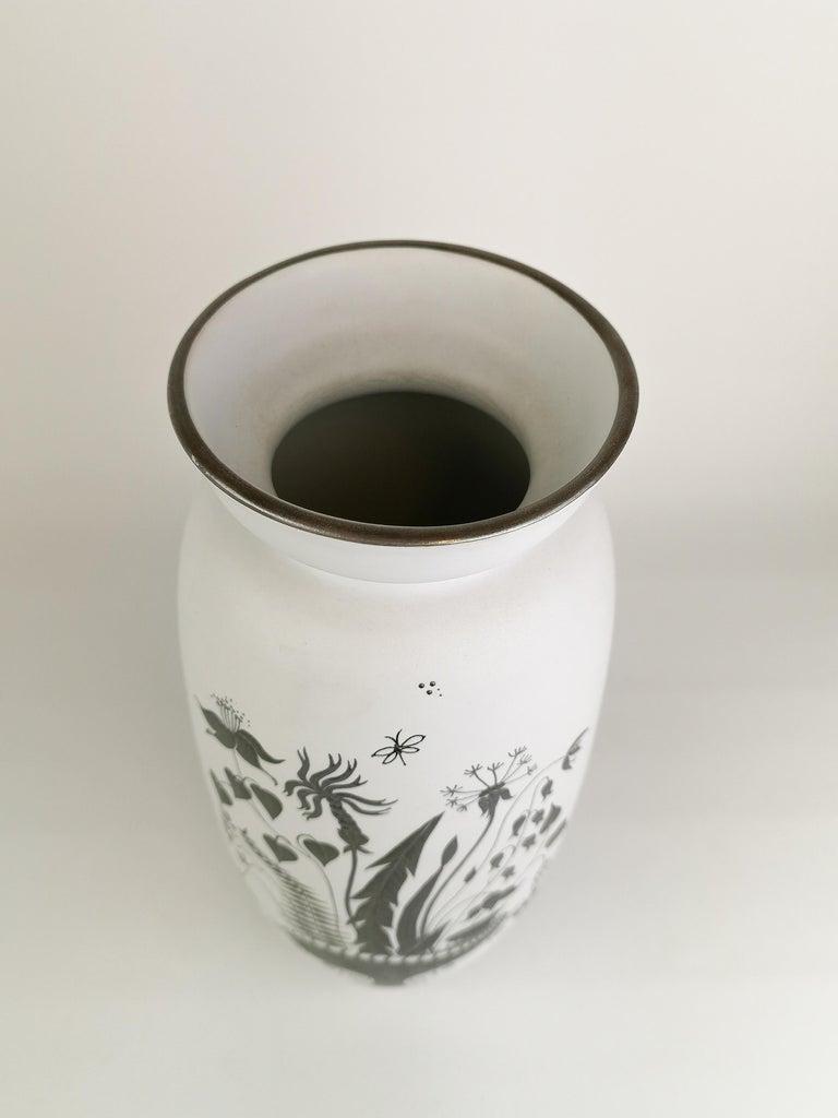 Mid-Century Modern Gustavsberg Large Ceramic Vase with Silver Overlay Stig Lindberg, Grazia For Sale