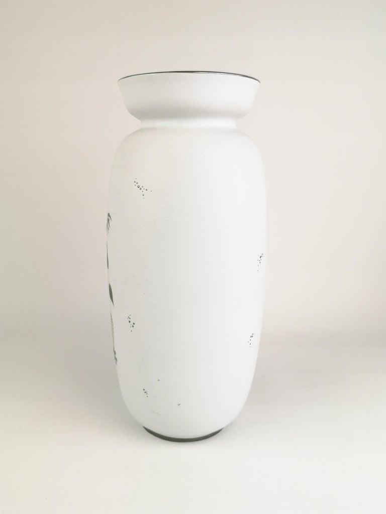 Swedish Gustavsberg Large Ceramic Vase with Silver Overlay Stig Lindberg, Grazia For Sale