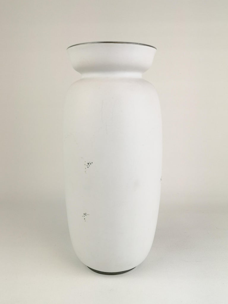 Gustavsberg Large Ceramic Vase with Silver Overlay Stig Lindberg, Grazia In Good Condition For Sale In Langserud, SE