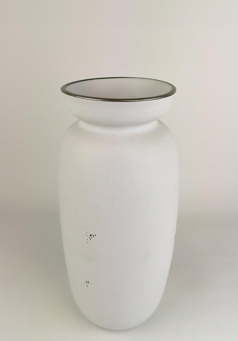 Mid-20th Century Gustavsberg Large Ceramic Vase with Silver Overlay Stig Lindberg, Grazia For Sale