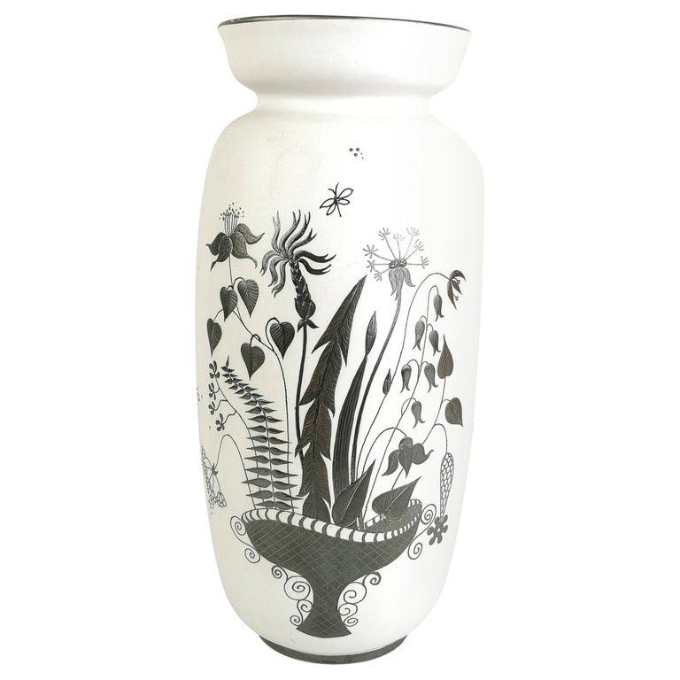 Gustavsberg Large Ceramic Vase with Silver Overlay Stig Lindberg, Grazia For Sale