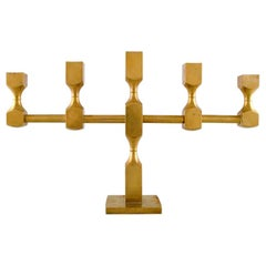Gusum Metal, Large Candlestick in Brass for Five Lights, 1974, Swedish Design