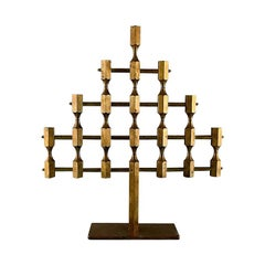 Gusum Metal, Large Rare Candlestick in Brass for Seven Lights, Swedish Design