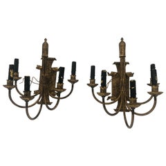 Gutsy Pair of Aged Bronze Patina Metal 5-Arm Sconces