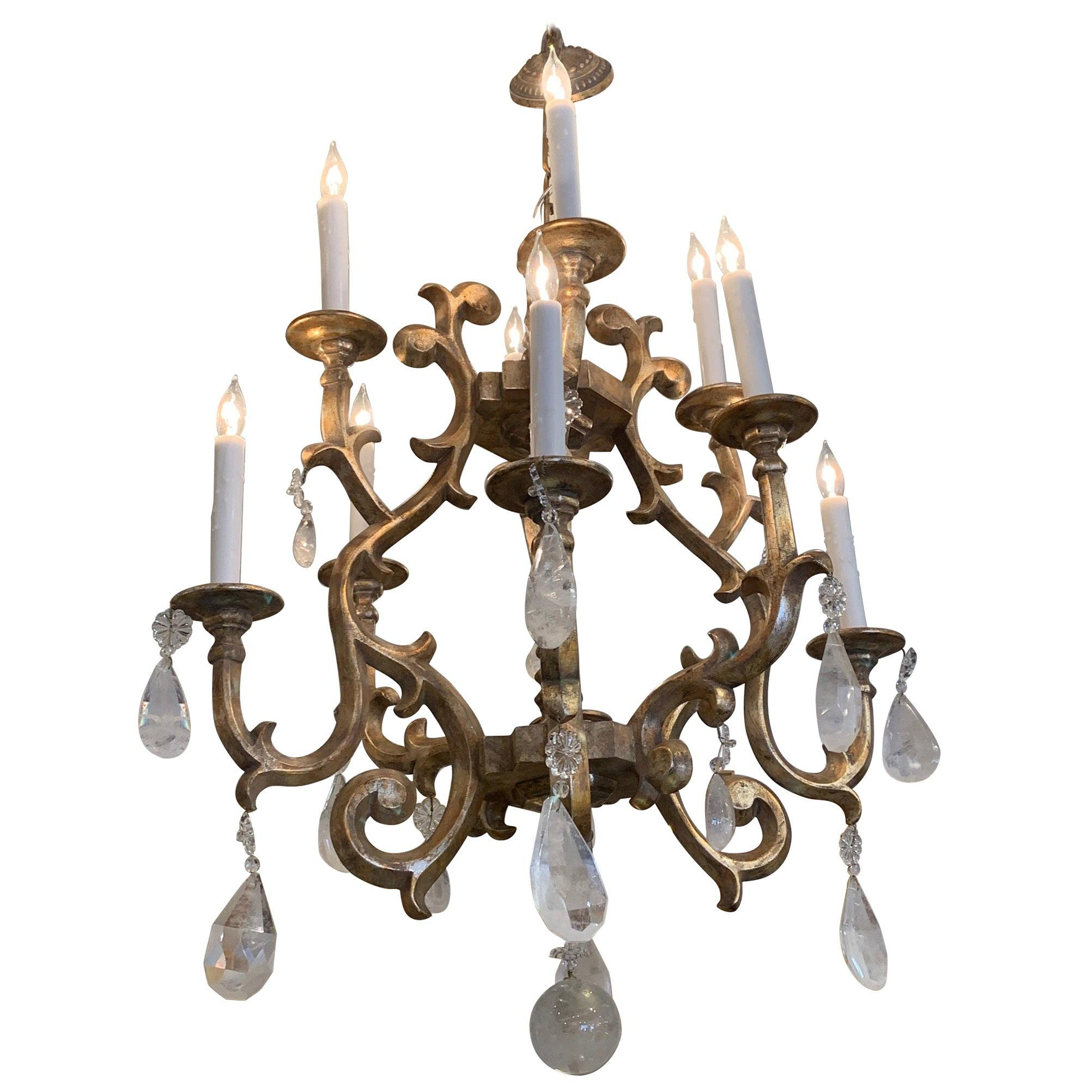 Gutsy Rich Giltwood Chandelier with Very Large Rock Crystals