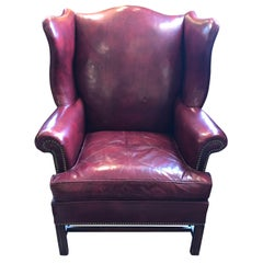 Gutsy Vintage Maroon Leather Wing Chair