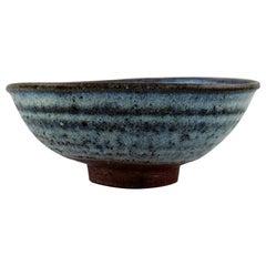 Gutte Eriksen, Denmark, Bowl on Foot in Glazed Stoneware, Raku Burnt Technique