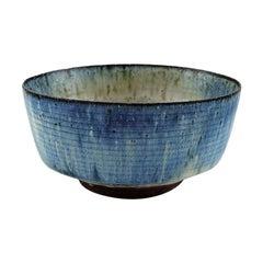 Gutte Eriksen, Own Workshop, Bowl in Glazed Stoneware, Raku Burned Technique