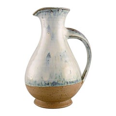 Gutte Eriksen Style, Jug in Glazed Ceramics with Turned Handle