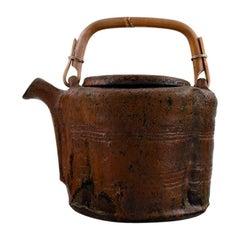 Gutte Eriksen, Unique Teapot of Stoneware with Handle in Wicker