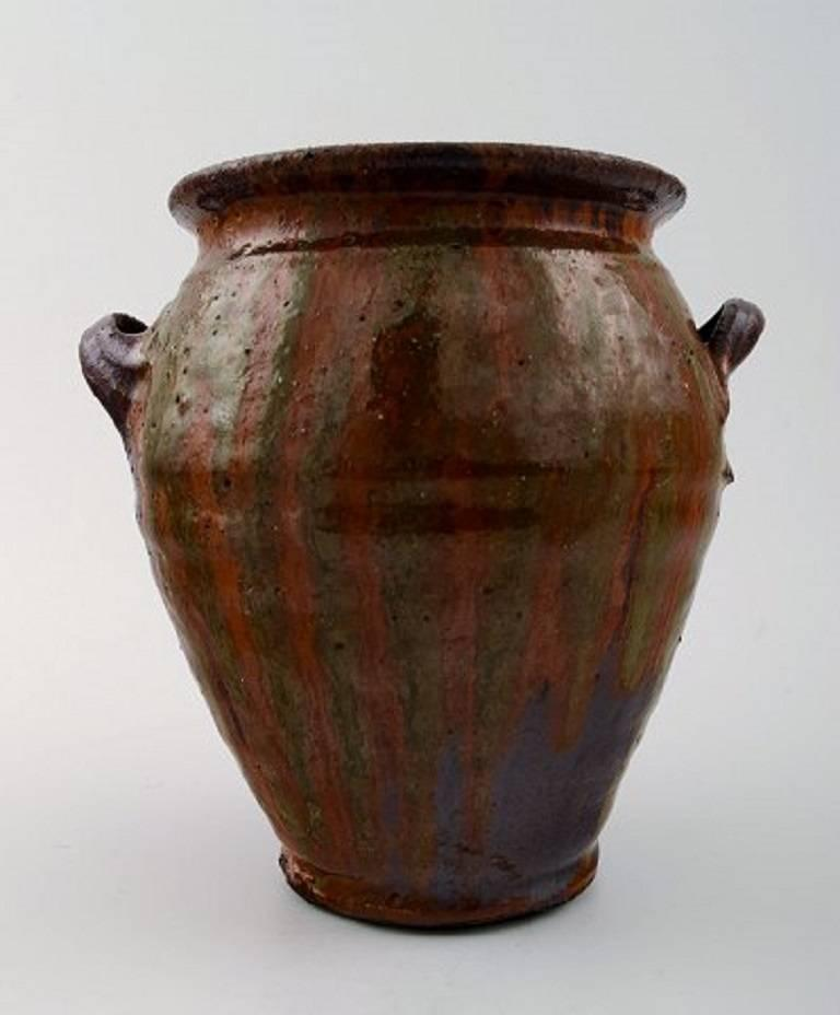 Scandinavian Modern Gutte Eriksen, Own Workshop Pottery Vase with Handles, Denmark, Mid-20th Century For Sale