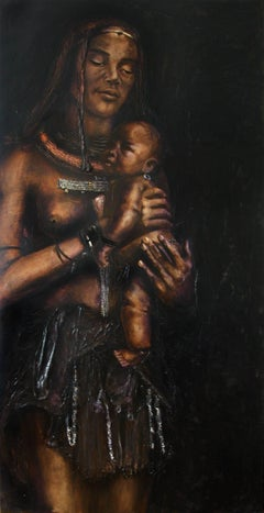 Himba.  Contemporary Large Figurative Oil painting