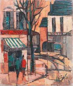 'Café des Porches', School of Paris, Post-Impressionist French Oil Cityscape