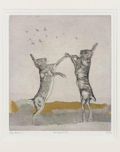 Boxing Hares BY GUY ALLEN, Limited Edition Print, Animal Art, Hare Art,Gold Leaf