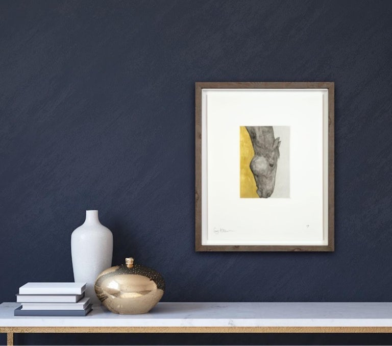 Guy Allen Grazing Horse Study Gold An etching, aquatint and hand finished gold leaf on 300gsm Somerset paper. Edition Size: 75 Year Completed: 2017 Image Size: H 19.5cm x W 13.5cm Paper Size: 56 x 39 cm Sold Unframed (Please note that in situ images