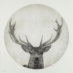 Guy Allen, Moon Stag, Limited Edition Print, Animal Art, Affordable Art