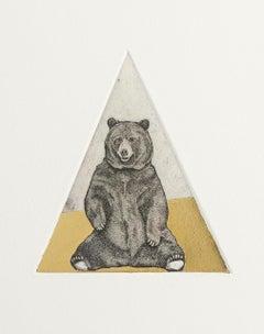 Guy Allen, Stinging Bear Study, Limited Edition Animal Print, Gold Leaf Art