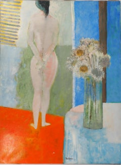 Interior : Model with Thistles - Original Oil on Canvas, Handsigned