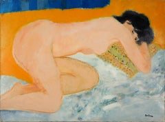 Interior : Nude Asleep on a Yellow Pillow - Original Oil on Canvas, Handsigned