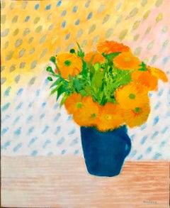 Soucis au Petit Pot Bleu, Floral Oil Painting Marigold Flower Bouquet in Vase