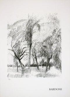 1970 Guy Bardone 'Le vent' Black & White France Lithograph