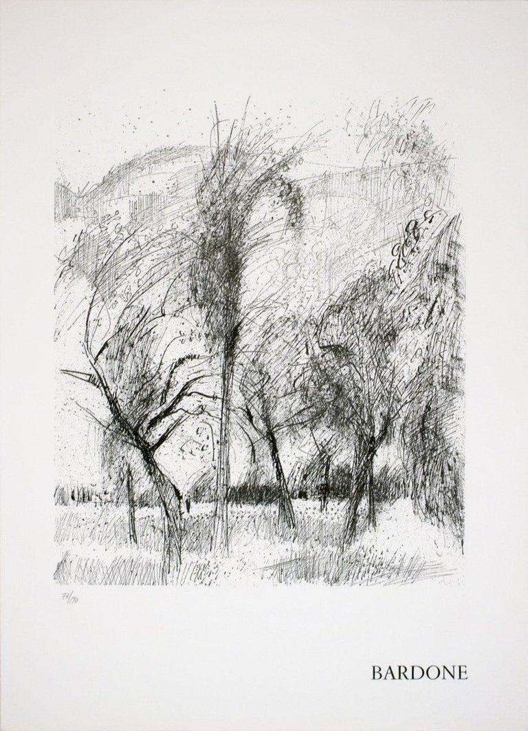 1970 Guy Bardone 'Le vent' Black & White France Lithograph - Print by Guy Bardone
