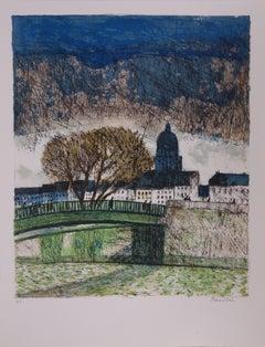 Paris : Le Pont des Arts - Handsigned lithograph