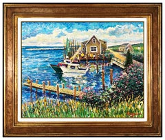 Guy Begin Original Oil Painting On Canvas Signed Water Landscape Framed Artwork