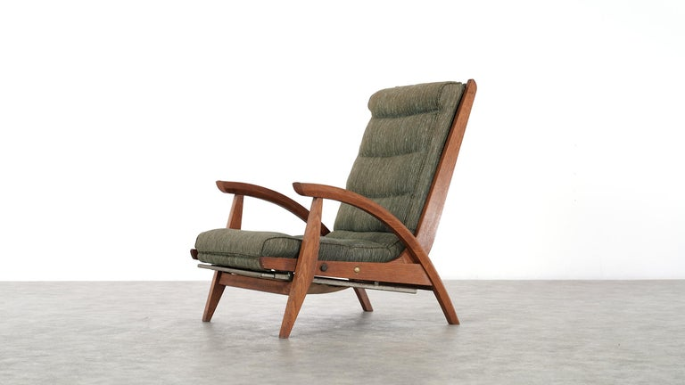 French Guy Besnard FS 134 Reclining Lounge Chair, 1954 for Free Span, France Prouvé