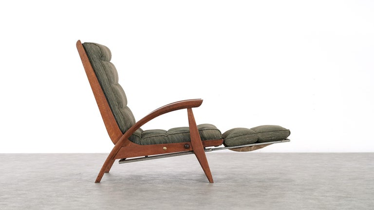 Wood Guy Besnard FS 134 Reclining Lounge Chair, 1954 for Free Span, France Prouvé